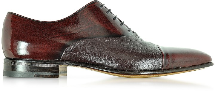 Moreschi Digione Burgundy Peccary and Calf Leather Oxford Shoes