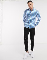 Esprit long sleeve stripe shirt in blue