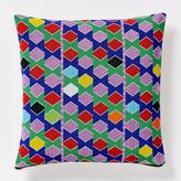 west elm Beaded Multicolor Hexagon Pillow Cover
