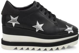 Stella McCartney Sneak-Elyse Embroidered Star Platform Wedge Sneakers