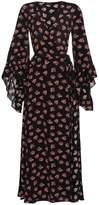 De La Vali Silk ruffle wrap dress