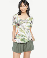 Ann Taylor Scoop Neck Linen Sunday Tee - In Tropical Print