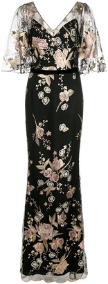 Marchesa Notte Cape Sleeve Floral Embroidered Mermaid Gown