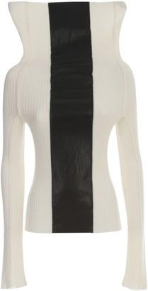 Pierantonio Gaspari PierAntonioGaspari Ribbed Turtle Neck Sweater W/faux Leather Insert