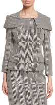 Escada Herringbone Off-the-Shoulder Collar Jacket, Black