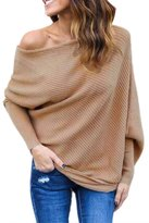 Suvimuga Women Off Shoulder Knitted Batwing Sleeve Sweater Jumper Pullover Blouse L