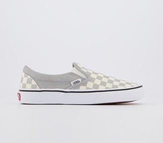 Vans Classic Slip On Trainers Silver True White Checkerboard