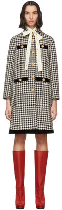 Gucci Black and Off-White Wool Houndstooth Coat