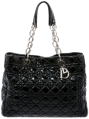 Christian Dior Black Cannage Quilted Soft Patent Leather Large Shopper Tote
