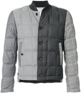 Thom Browne Downfilled Button Front Jacket In Funmix In Prince Of Whales Heavy Wool