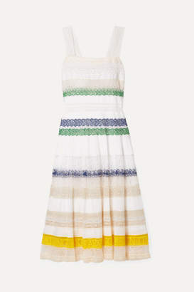 Tory Burch Lace-trimmed Cotton-voile Midi Dress - White