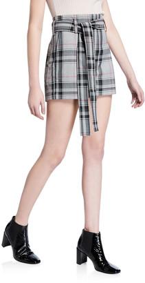 3.1 Phillip Lim Plaid Belted Short Shorts