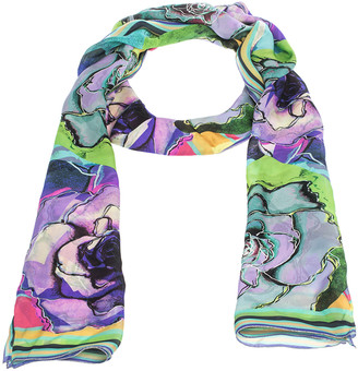 Roberto Cavalli Multicolor Floral Print Silk Scarf