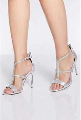 Quiz Silver Diamante Strap Heel Sandals