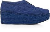 Robert Clergerie Pinto woven-raffia lace-up flatform shoes