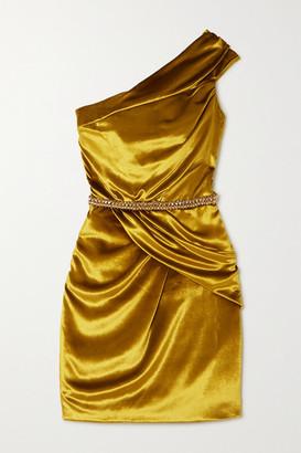 RALPH & RUSSO Crystal-embellished Draped Velvet Mini Dress - Mustard