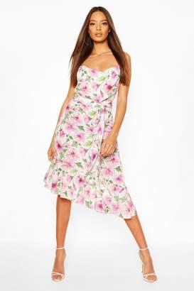 boohoo Woven Floral Cowl Strappy Back Midi Dress