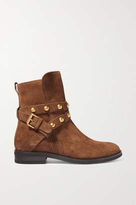 See by Chloe Studded Suede Ankle Boots - Tan