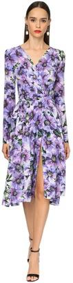 Dolce & Gabbana Anemone Print Crepe De Chine Midi Dress