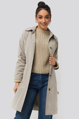 Trendyol Silver Ring Belted Trench Coat Grey