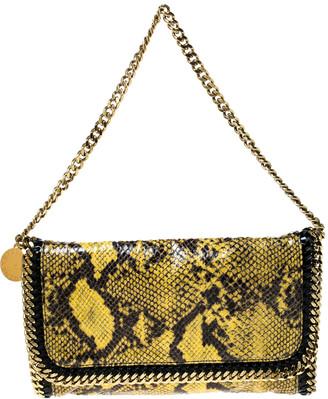 Stella McCartney Yellow/Black Python Faux Leather Falabella Flap Shoulder Bag
