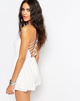 Missguided Chiffon Strappy Back Romper