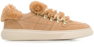 Hogan Faux-Fur Trimmed Sneakers