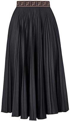 Fendi Techno Jersey Pleated Midi Skirt