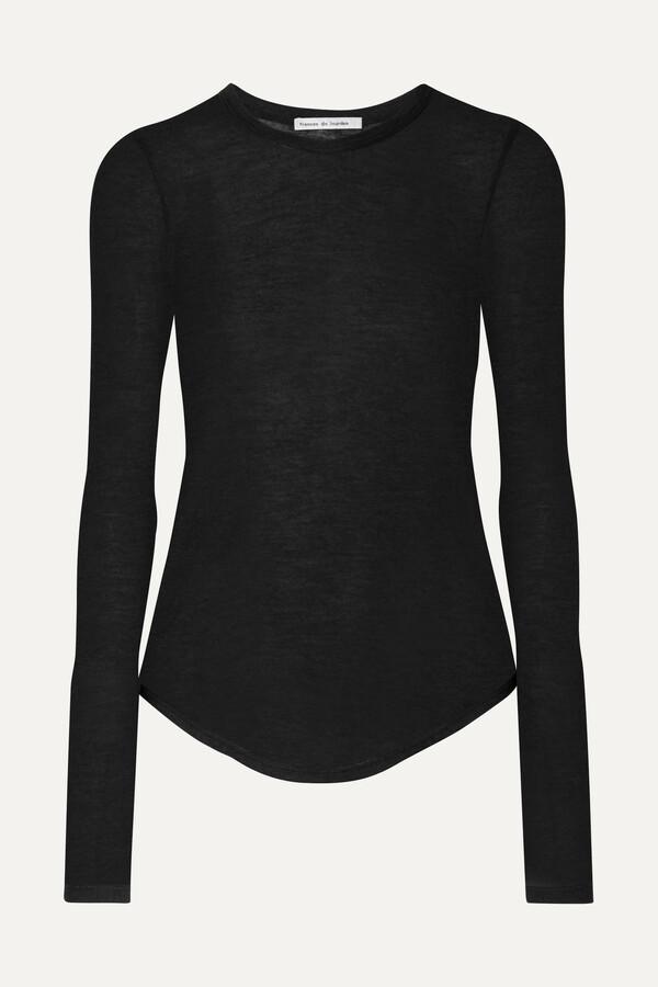 Thumbnail for your product : FRANCES DE LOURDES Romy Slub Cashmere And Silk-blend Top - Black