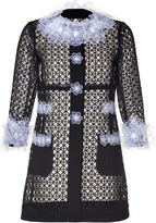 Moschino Short Cage Coat with Flower Applique