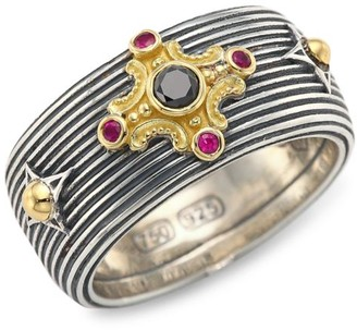 Konstantino Delos 18K Yellow Gold Black Diamond & Ruby Ring