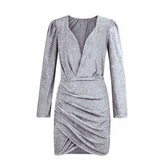HRZGJ Women Sequin Mini Dress Long Sleeve Tunic Batwing Jumper Tops Pleated Stretchy Jersey Party Dresses Cocktail for Ladies Silver