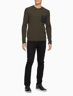Calvin Klein Regular Fit Ribbed Zip Pocket Sweater