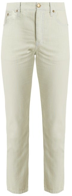 The Great The Fellow Striped Cotton Jeans - Womens - Light Denim