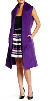 Oscar de la Renta Sleeveless Shawl Collar Wool Blend Coat