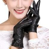 Feoya Lady's Women's Winter Warm Dress Gloves Genuine Leather Gloves Fleece Lined