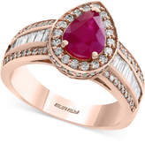 Effy Amoré by Certified Ruby (1 ct. t.w.) and Diamond (9/10 ct. t.w.) Ring in 14k Rose Gold