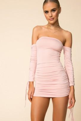 superdown Off Shoulder Ruched Mini Dress