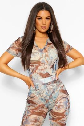boohoo Marble Print Zip Front Mesh Bodysuit