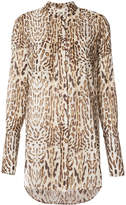 ADAM by Adam Lippes Ocelot printed voile blouse with stand collar