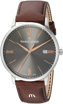 Maurice Lacroix Men's Eliros Stainless Steel Quartz Watch with Leather Calfskin Strap