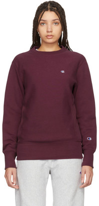 Champion Reverse Weave Burgundy Logo Sweatshirt