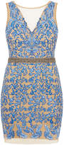 Nicole Miller Blue Floral Embroidered Tulle Mini Dress