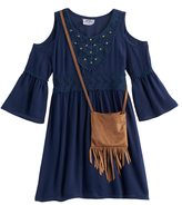 Knitworks Girls 4-6x Cold-Shoulder Bell Sleeve Dress with Crossbody Purse