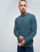 Lyle & Scott Crew Jumper Cotton Merino Knit Eagle Logo In Teal