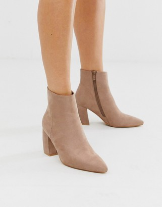 Park Lane flare heel pointed ankle boots-Beige