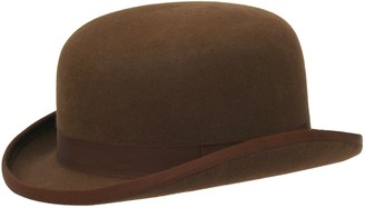 The Hat Outlet Ladies Brown Fashion Bowler Hat