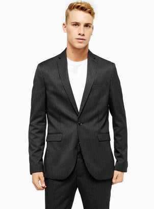 Topman Charcoal Grey Pinstripe Skinny Fit Single Breasted Suit Blazer with Notch Lapels