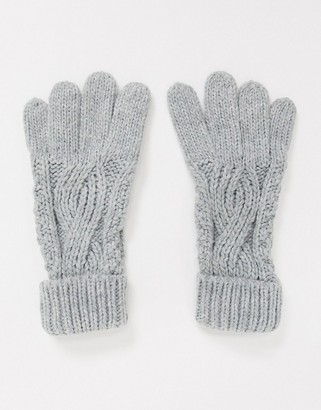 Boardmans cable knitted glove with turn-up cuff in grey