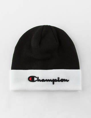 Champion Embroidered Script Logo Black Beanie